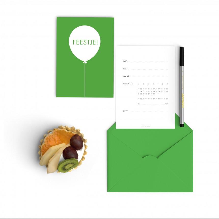 green balloon invitations